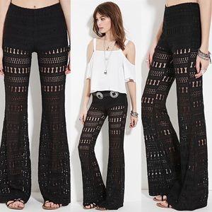 Forever 21 Black High Waisted Crochet Flare Pants
